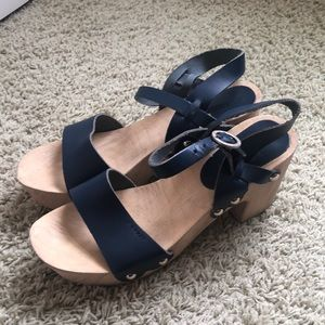 Esprit Navy Wood Clog Sandals Sz 40